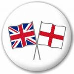 Great Britain and England Friendship Flag 25mm Flat Back